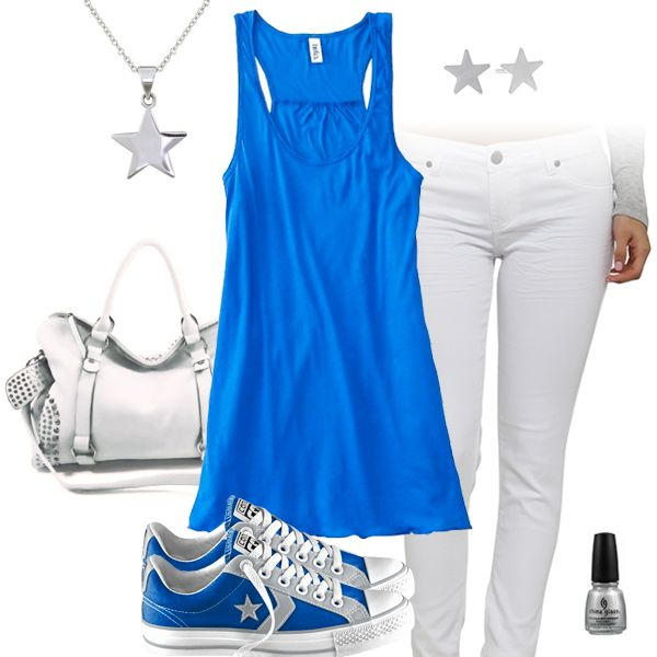 Cute Blue Tank Top & White Jeans Outfit with Converse All ...