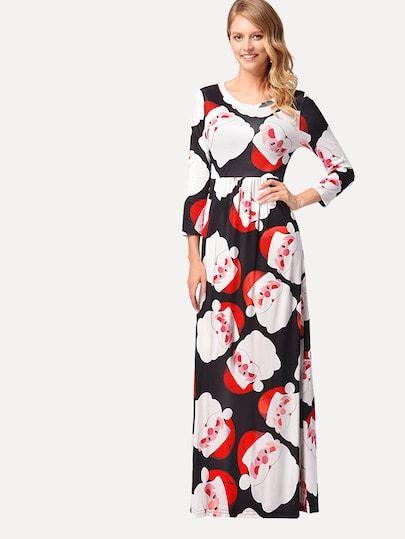 16a038b787 Christmas Print Longline Dress #fashion #trends #styles #shein #Christmas # sheinside #winter #clothes #fashionista shein,#sheinreviews,#sheinshopping, shein ...
