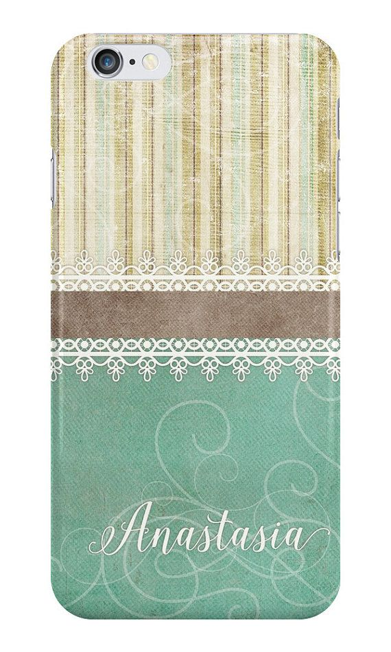 Turquoise Stripes Shabby Chic Rustic iPhone or by NoondaybyTracey