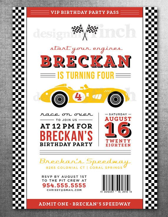 Race Car Birthday Invitation Card Ticket Racing di DesigningFinch