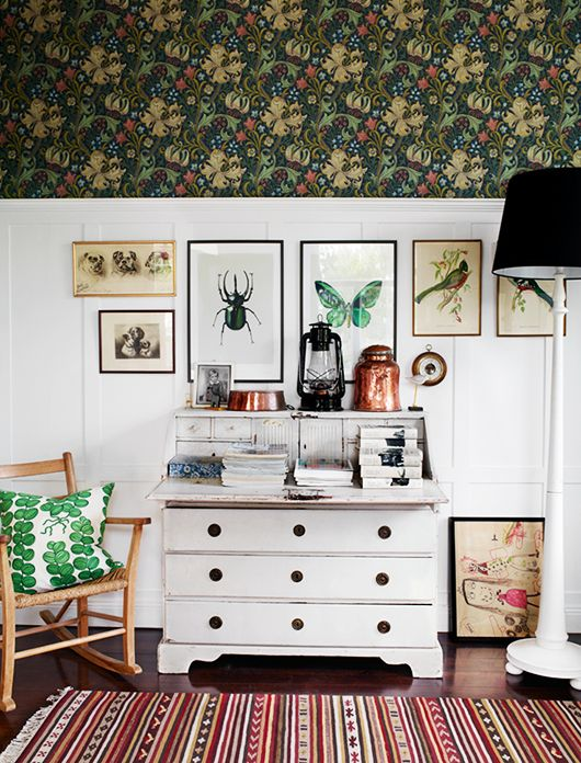 the shutterbugs: idha lindhag. / sfgirlbybay - love the green, eclectic artwork, cushion, kids art, white panelled wall and furniture:
