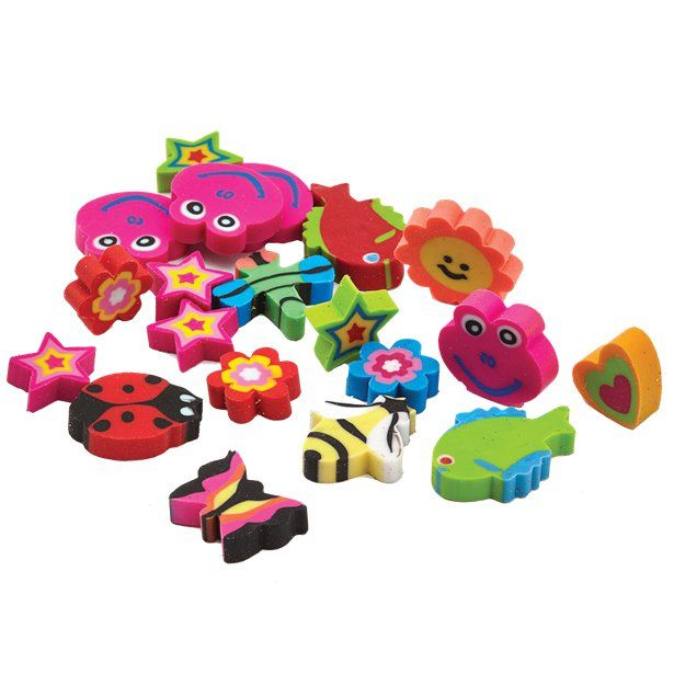 Pack of 4 Butterfly Shaped Erasers Rubbers Party Bag Treat Eraser Novelty