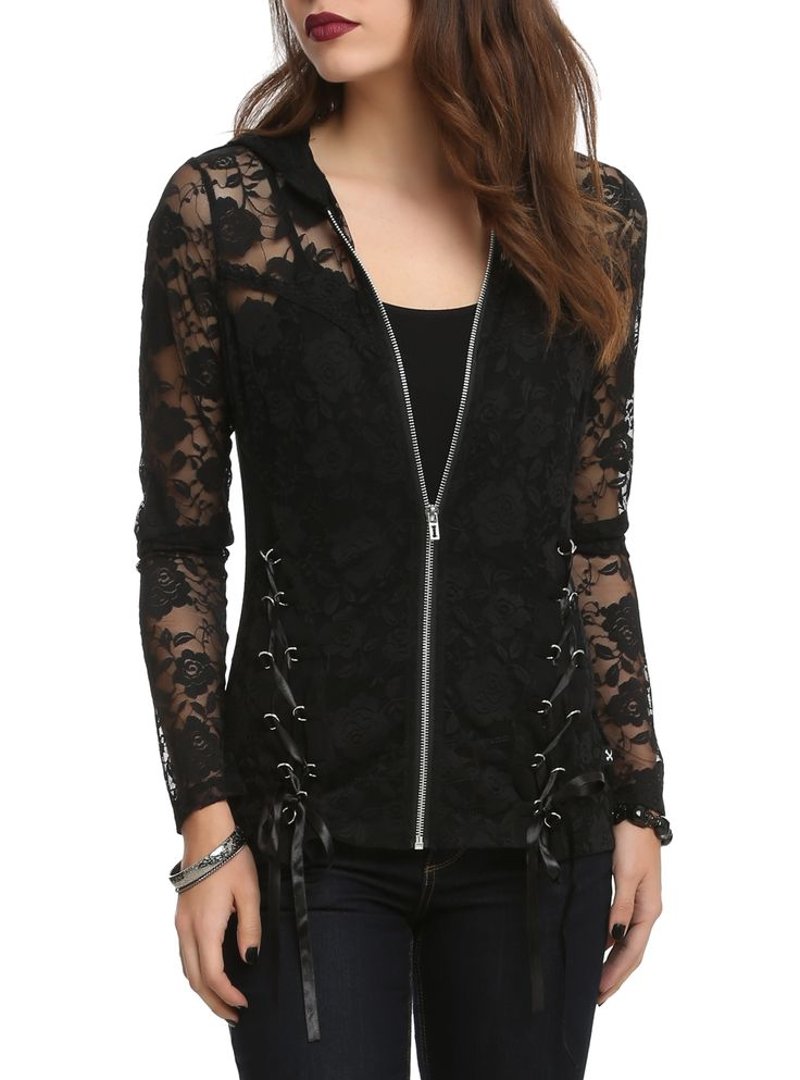 Black hoodie with a floral lace front and hood and lace-up detailing. Absolutely Love Love this . Hot Topic