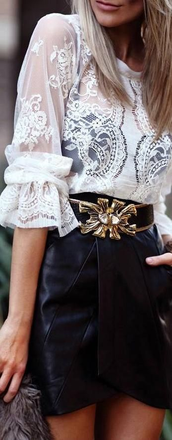 lace ruffles and leather ♥✤ | KeepSmiling | BeStayClassy: Lace Tops, Fashion Clothing, Lace Blouses, Fashion Style, Leather Skirts, Street Style, Black White, White Lace, Lace Shirts