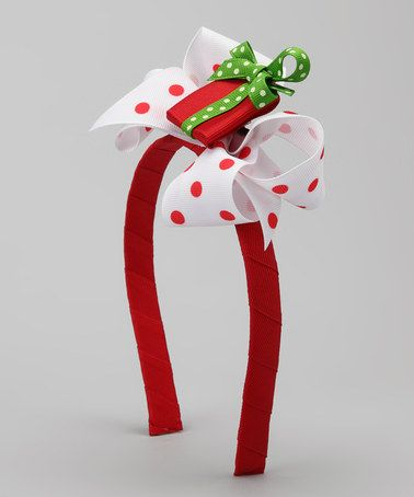 Take a look at this White Polka Dot Present Headband by Picture Perfect Hair Bows on #zulily today!