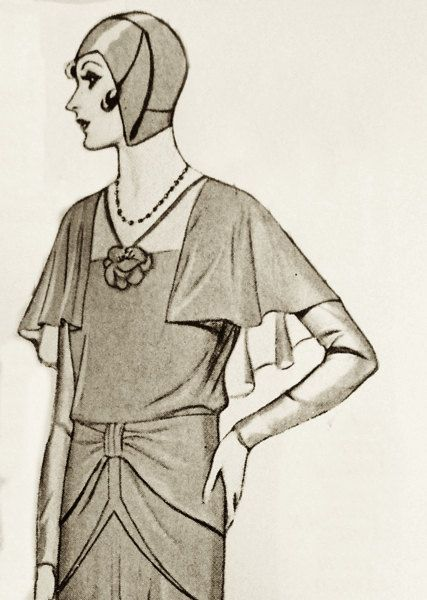 1920s sewing pattern. Dress with semicape and very by Contrapunt, €30.00