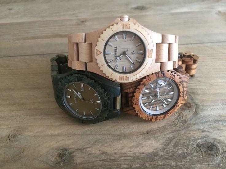 Houten horloges modellen: Antwerpen - Madrid - Kaapstad
