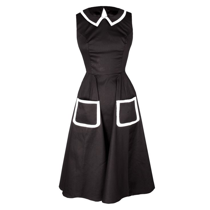 This vintage style dress has a beautiful fitted top and flared out skirt for flattering feminine fit. Beautiful smart black dress with white trim collar and two front pockets 30C Machine Wash, No Tumble Dry, Medium Iron