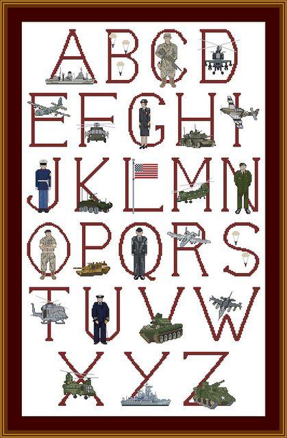 Cottage needlecraft alphabet   USA Military Cross stitch Alphabet   Flickr - Photo Sharing!