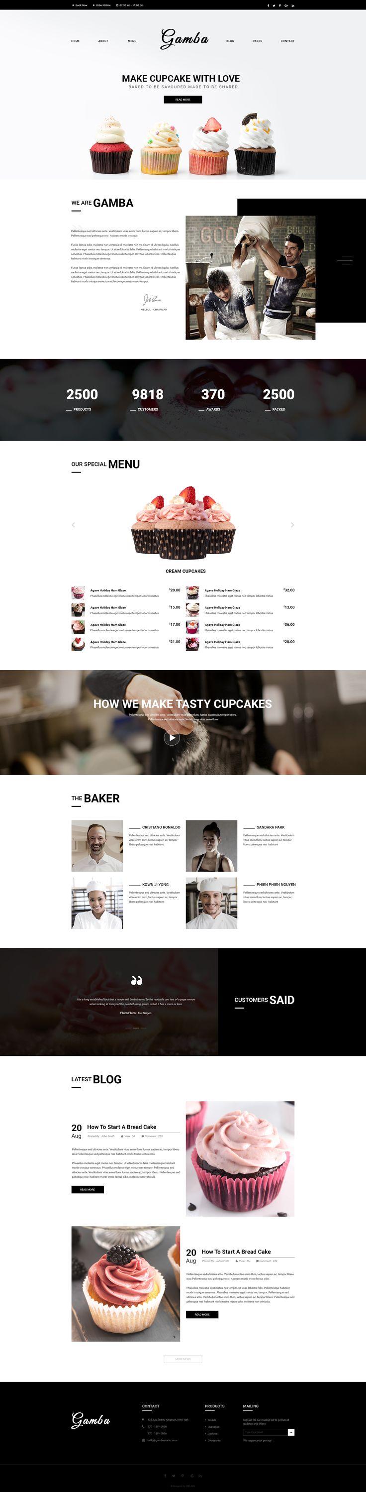 Gamba Bakery, Cakery, Pizza & Pastry Shop PSD Template