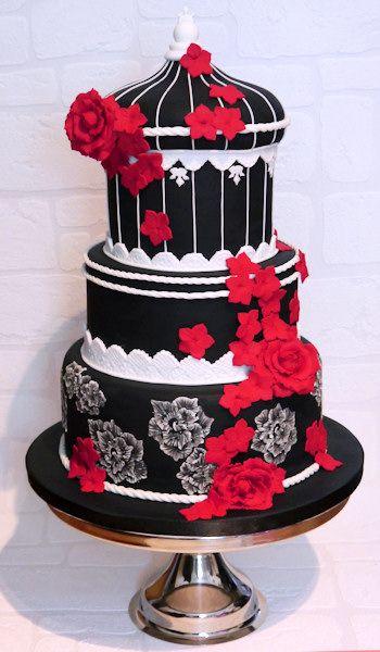 gothic roses birdcage cake
