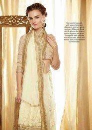 Gorgeous Cream Color Designer Sari With Amazing Embroidery Work