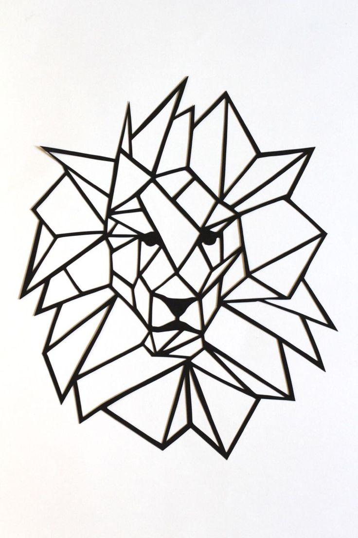 "Original Simple Lion Papercut Wall Art: 6.75x8"" basic geometric original lion head and mane, black cut out, 2D triangular modern design by PrairieAndPine on Etsy https://www.etsy.com/au/listing/455837256/original-simple-lion-papercut-wall-art"