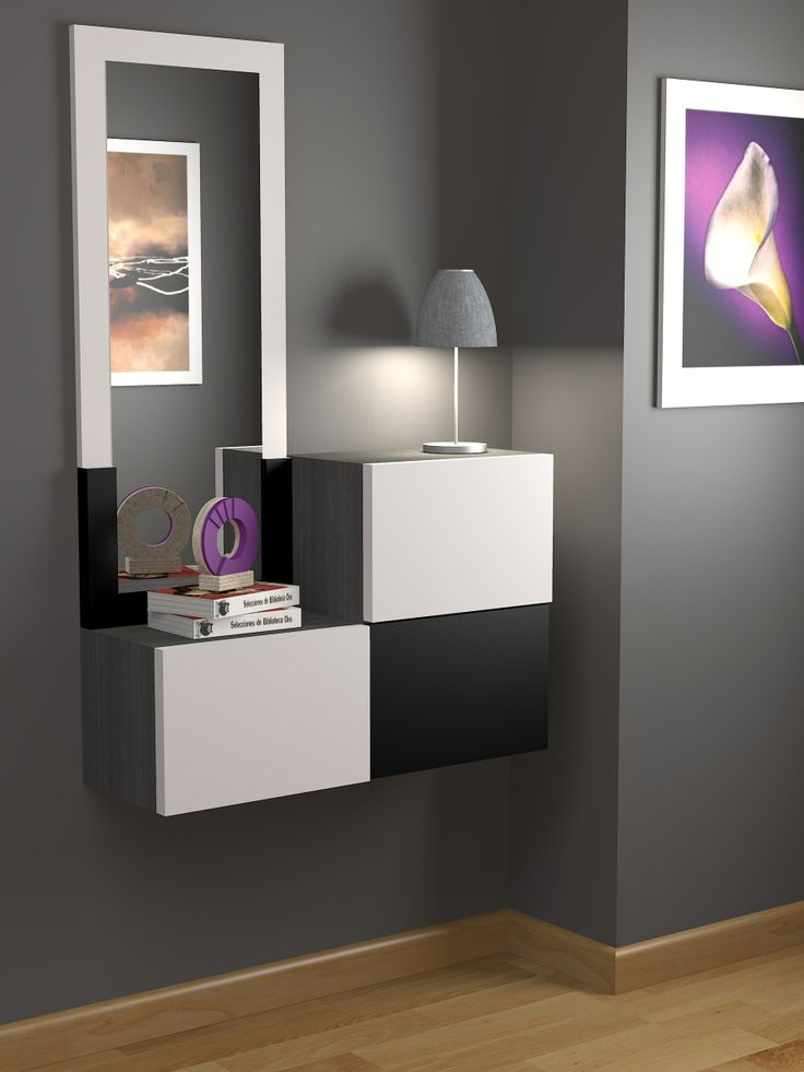 Recibidor a medida moderno acabado lacado color a elegir for Espejos modernos para recibidor