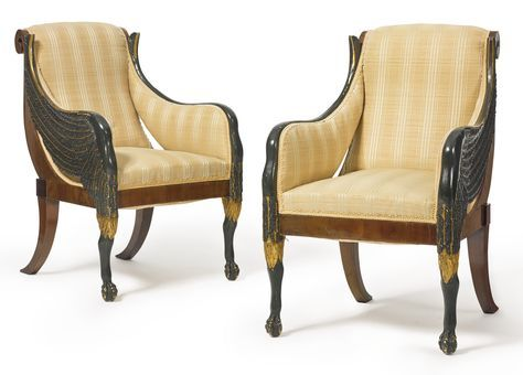 A pair of Italian Neoclassical parcel-gilt and part-ebonized carved armchairs early 19th century | lot | Sotheby's