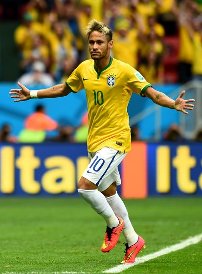 Neymar JR celebrando el gol 100 del Mundial 2014 Cool ... Neymar Jr Brazil 2014