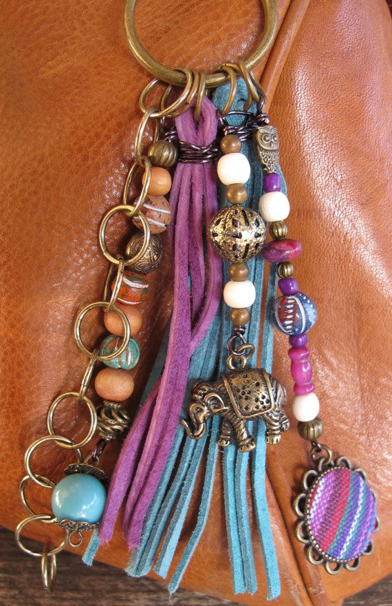 Boho Purse Charm, Charm Tassel, Zipper Pull, Key Chain - Indian Elephant - #ThePaintedCabeza
