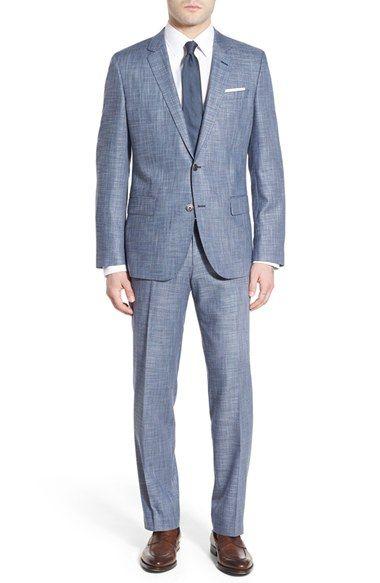 BOSS Trim Fit Check Stretch Suit