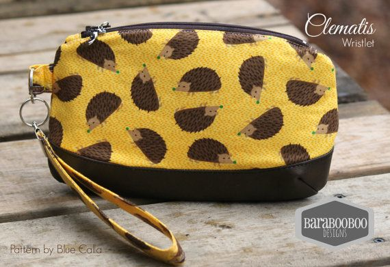 Clematis Clutch with wrist strap, key fob, in Hedgehogs, Hedgies, yellow, brown,pouch