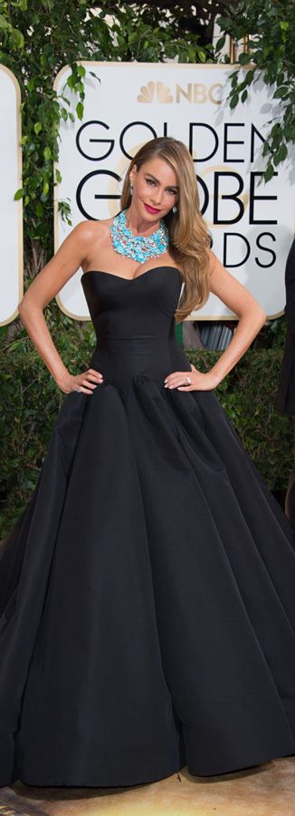 Sofia Vergara wearing Zac Posen at the Golden Globes 2014