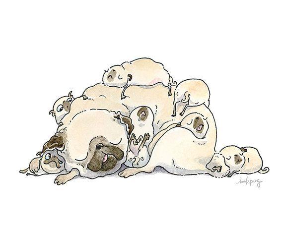 Family Nap Art Print  Family Art for Children Nursery by InkPug
