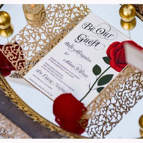 Beauty and the Beast invitation/Red rose by BoxedWedding on Etsy
