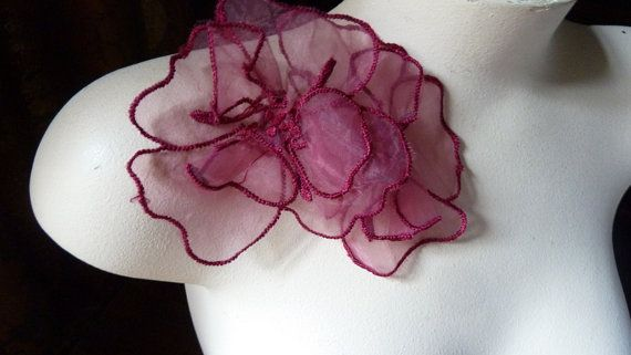 2 Flower Appliques  Double Layered Organza in Claret for Headbands, Sashes, Dresses, Handbags