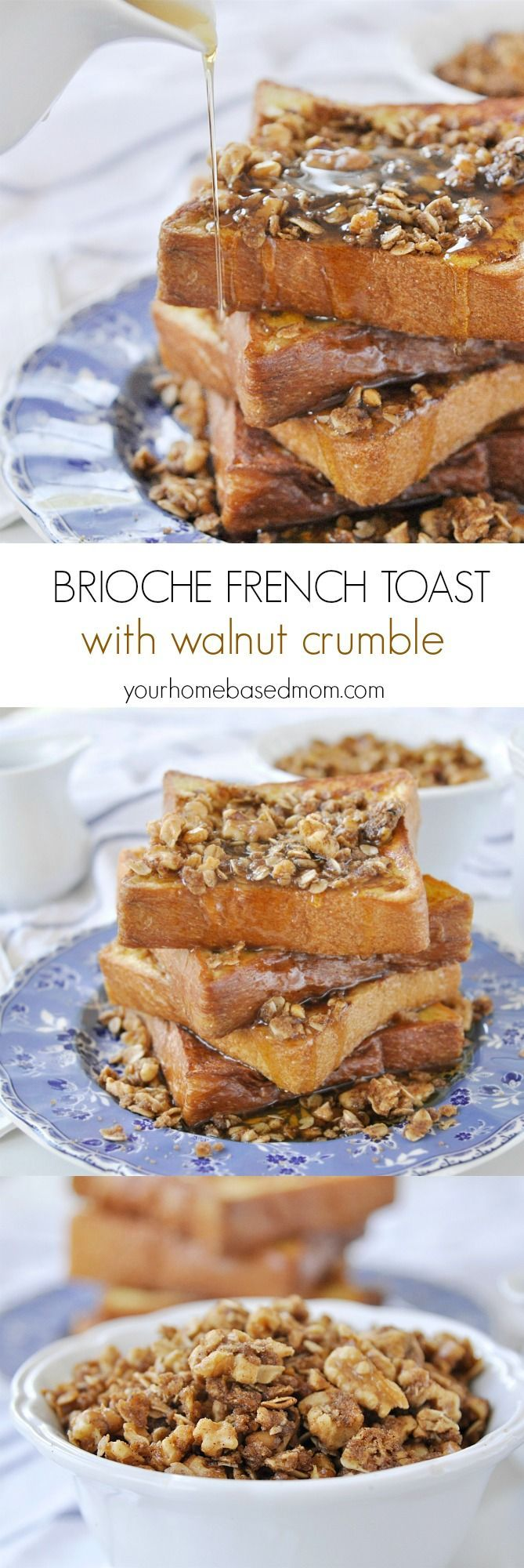 Brioche French Toast with walnut crumble with a drizzle of pure maple syrup is basically heaven on a plate!  The perfect recipe for breakfast or brunch.
