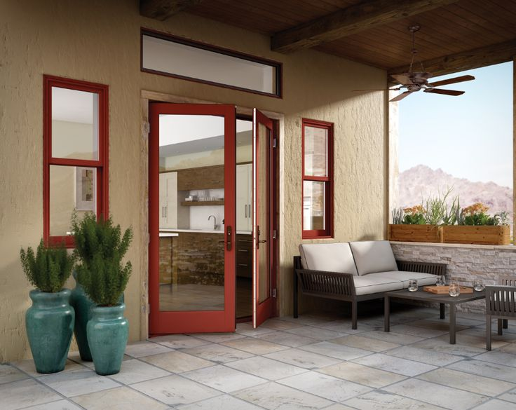 For A Unique Look Try Out Our Cinnamon Essence Outswing Wood And Fiberglass  Patio Door