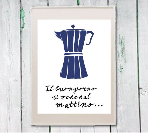 Coffee print kitchen art Italian quote Instant by Lebonretro, $4.50