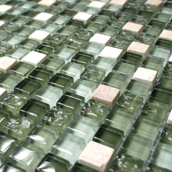 Mosaikfliesen Glas Marmor Grün Mix