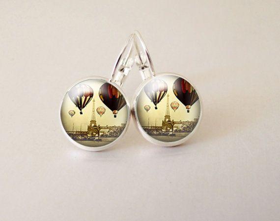 Balloon art  glass cab earrings GCB32 by ArtiFartiGifts on Etsy