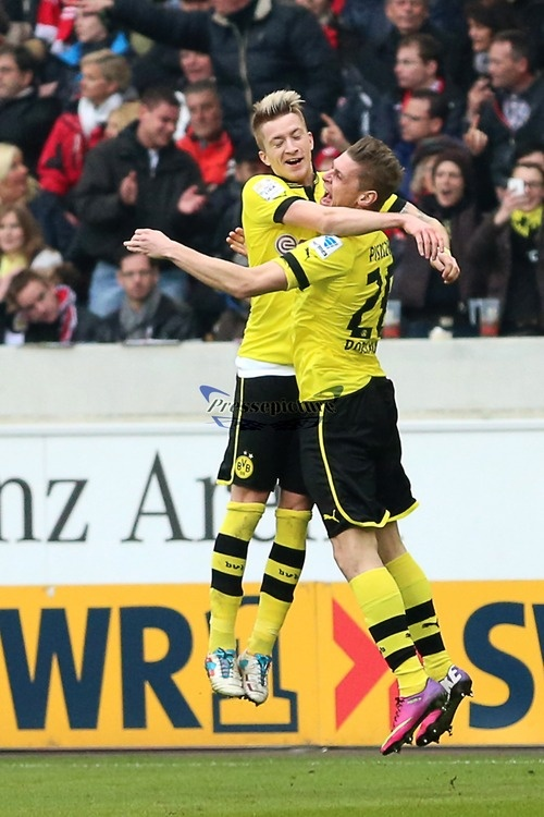 Marco Reus and Łukasz Piszczek As cool as this pic is, today is a sad day in Dortmund and all BVB fans as Dortmund fell 2-3 aggregate to Real Madrid, thus eliminating BVB from the Finals.