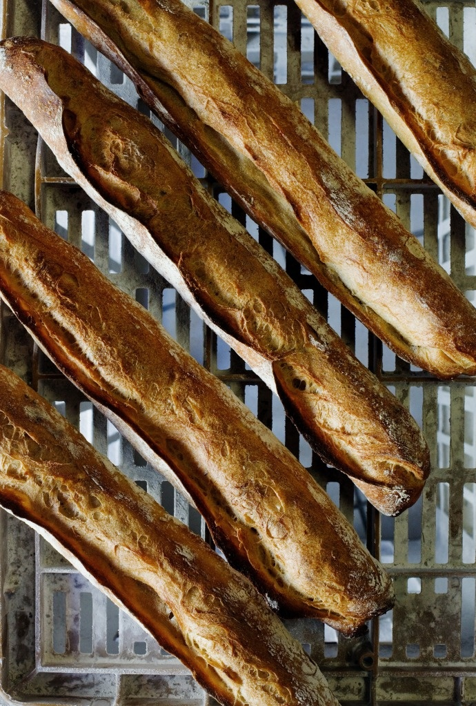 While baking the bread at 240°C, use a cast iron skillet filled with 1 large glass of water placed under the baking tray. Traditional baguettes are baked in ovens that produce steam, which delays crust formation so the loaves can fully rise.