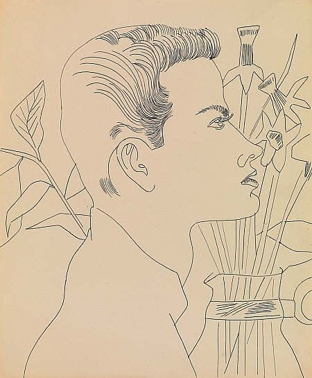 Andy Warhol Boy with Flowers (1955 - 1957) Ink on paper 42.50 x 35.10 cm