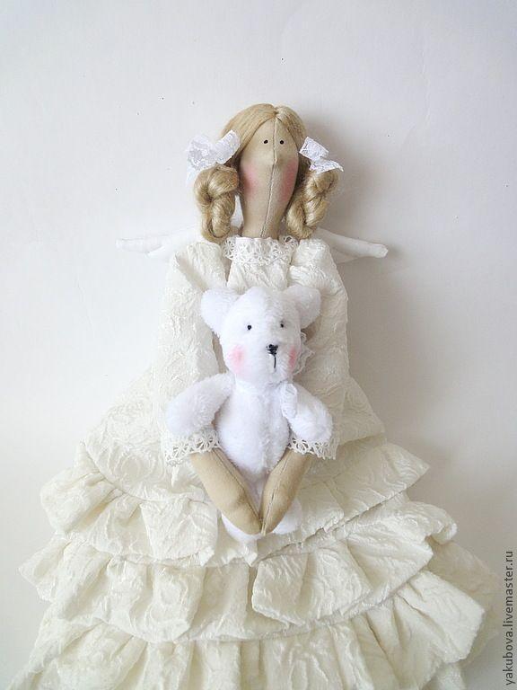 Купить Ангел с мишкой - белый, ангел, ангел тильда, белый цвет, интерьерная кукла ♡