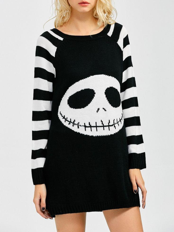 Stripes Ghost Pattern Tunic Shirt Sweater Dress, WHITE/BLACK, L in Sweater Dresses | DressLily.com