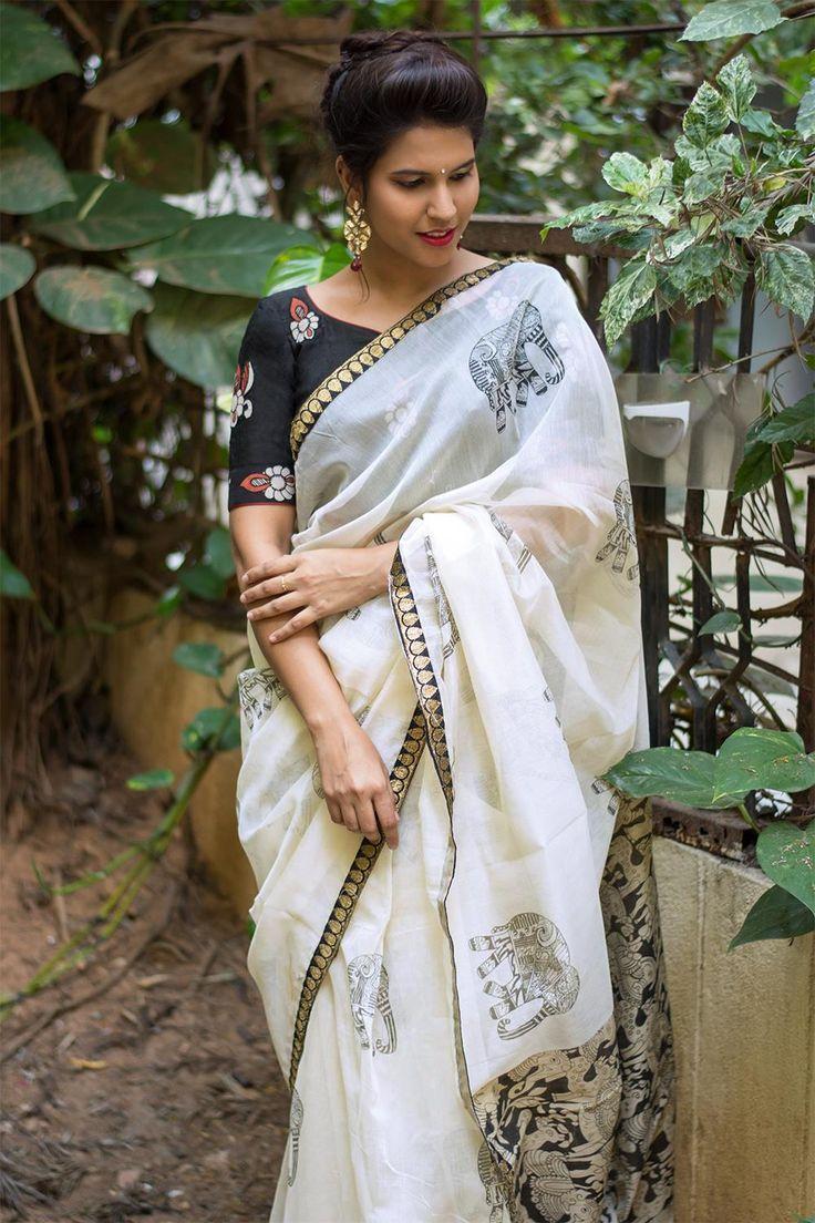 White Kota saree with printed elephant motifs and Kalamkari pallu and black zari border  #saree #blouse #houseofblouse #indian #bollywood #style #offwhite #black #elephant #motifs #printed #kalamkari #kota