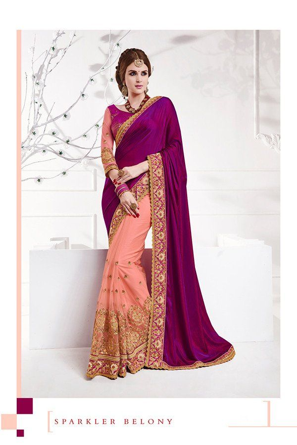 Pink & Violet Color Net & Silk Fabric Saree