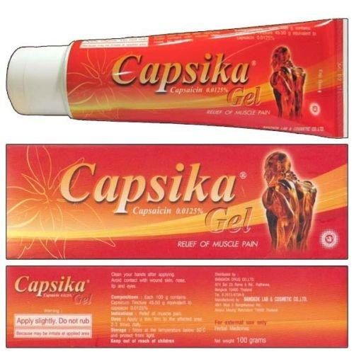 Capsika (Capsaicin) Gel 100g. Relief Muscle Pain, Capsika is a herbal medicine Capsaicin extract from Chilli Pepper Capsaicin, stimulates the TRPV1 Decrease neurotransmitters mediating the pain Pain relief by mechanism of Capsika.