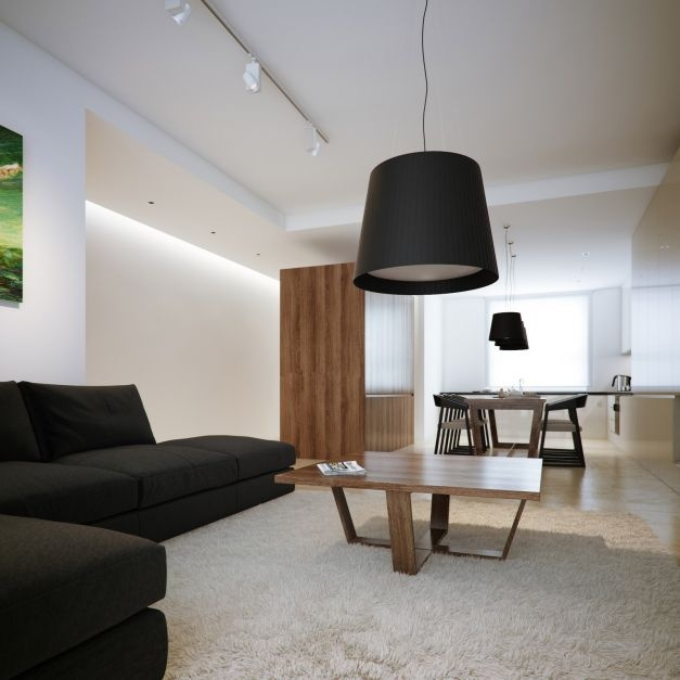Black And White Lofts, Simplistic Yet Modern: Contemporary White Walnut Open Plan Scheme Living Dining