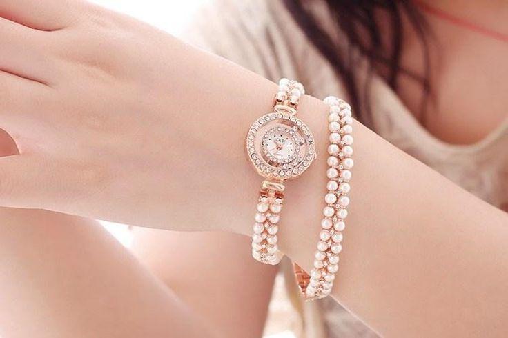 "Luxury Brand Gedi ""Pearl in Band Rose Gold Quartz"" Ladies Bracelet Watch"