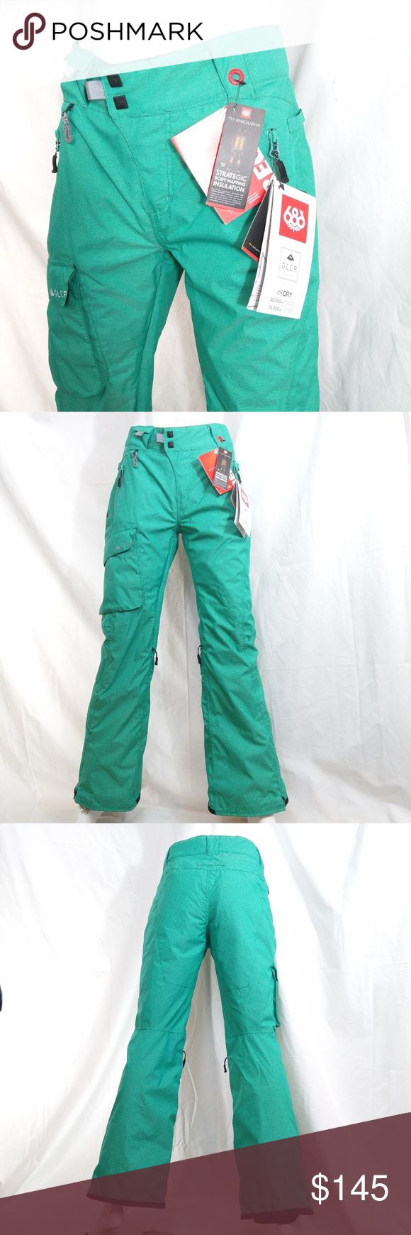 """686 GLCR Thermograph Insulated Snowboard Pants Snowboard like you're in the Olympics in these authentic 686 GLCR Trail Thermograph insulated snowboard pants  They feature: --highest level of waterproofing --BOA-compatible leg gaiters to seal you off at the boots --Thermagraph insulation system which warms you exactly where needed so your legs remain fresh & limber  Pictures are part of description. Color may VARY depending on viewing device. Color listed is """"Emerald.""""  Includes hologram tag…"""