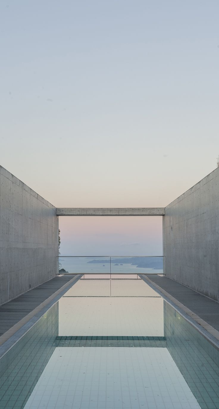 the outdoor pool at Setouchi Aonagi, a small luxury hotel with only 7 rooms designed by Tadao Ando