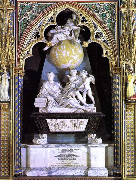 Tomb of Isaac Newton, Westminster Abbey, located in the north side of the nave.