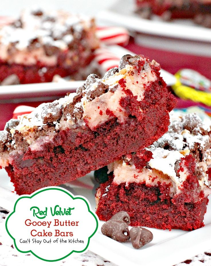 Take off on the ooey gooey butter cake bars but this one has red velvet cake mix and red chocolate chips in the batter. Excellent for Valentine's Day.