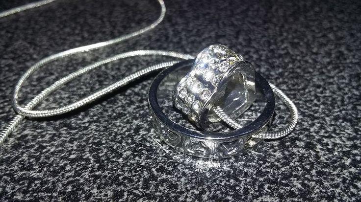 Collier Femme coeur et anneau strass cristal argenté
