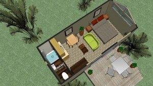 Transportable building villa plans - Open Elevation Above