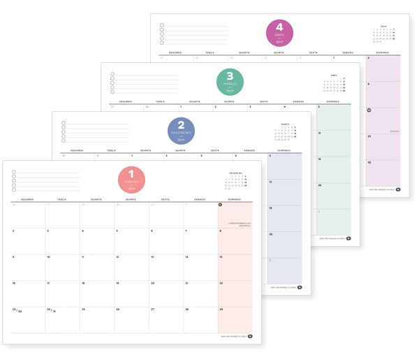 Planner 2017 Mensal, Semanal e diário + adesivos para imprimir em papel adesivo    Não Me Mande Flores