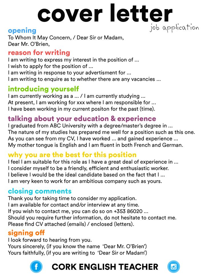 cover letter - job application